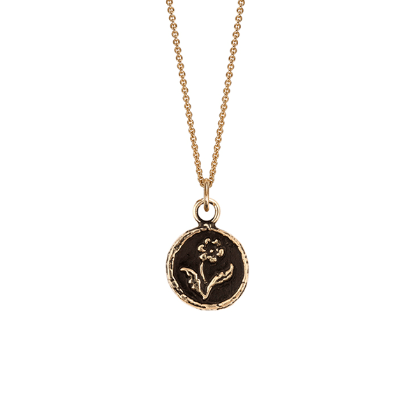 Pyrrha EC One Rose Talisman 14ct recycled Yellow Gold Necklace