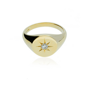 Round signet ring with star set diamond