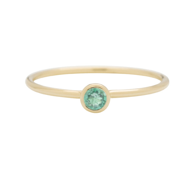 Round Emerald Gold Stacking Ring
