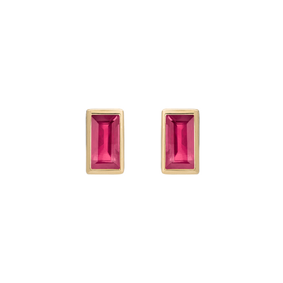 Baguette Ruby and Gold Studs Pair