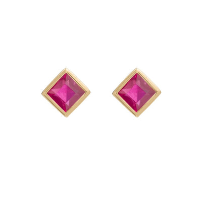 Princess Ruby Gold Stud Earrings