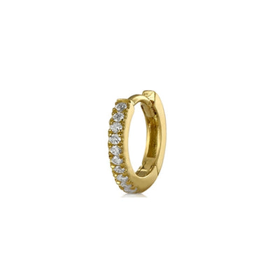 Small Single Diamond Gold Hoop Earring