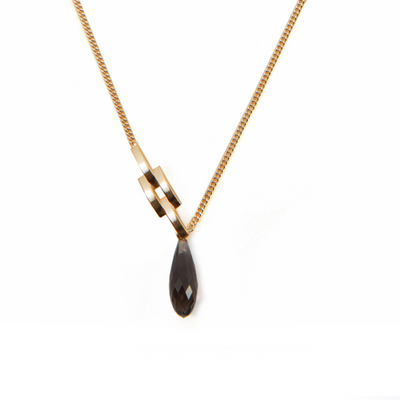 Smokey Quartz and Chain Link Gold Necklace