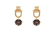 Smokey Quartz Stirrup Detail Gold Drop Earrings