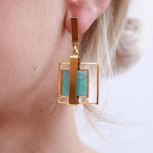 Square Blue Agate Double Frame Drop Earrings
