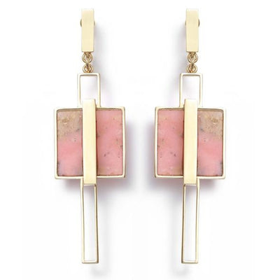 Square Frame Pink Opal Drop Earrings