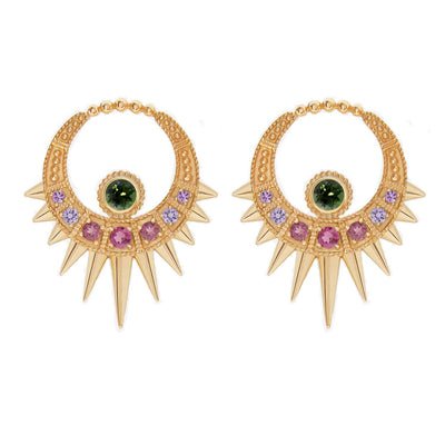 Aurelie Dellasanta Moon Earrings with Tourmalines and Sapphires