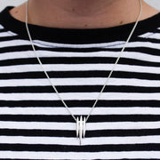 Triple Arc Silver Pendant Necklace
