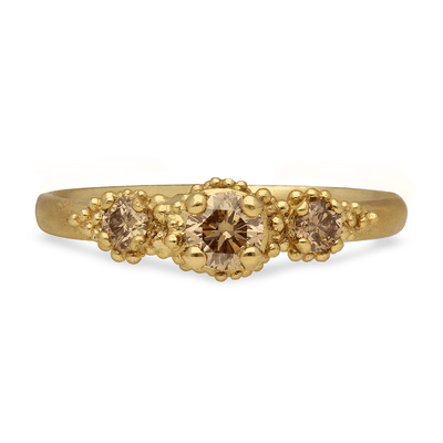 Triple Champagne Diamond Cluster Ring Yellow Gold