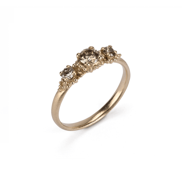 EC One Hannah Bedford recycled gold Triple Champagne Diamond Cluster Ring recycled Yellow Gold