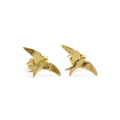 Teeny Tiny 18ct Gold Swallow Stud Earrings