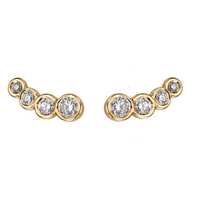 "EC One EC One ""Dainty"" yellow Recycled Gold Diamond studs"