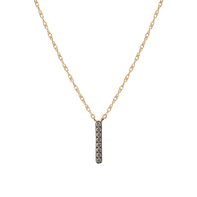 Yellow Gold Champagne Diamond Bar Necklace