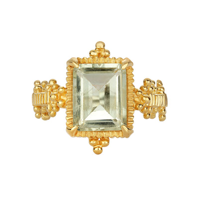 EC One Zoe & Morgan Natalya Green Amethyst Gold Rlated Ring