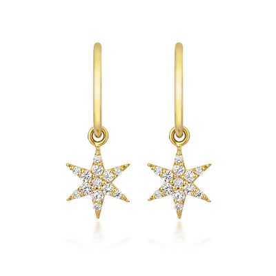 EC One Zoe & Morgan Mini Anahata Diamond Star Gold Drop Earrings