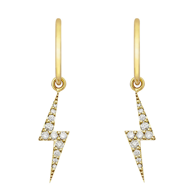 EC One Zoe & Morgan Zap Diamond Gold Drop Earrings