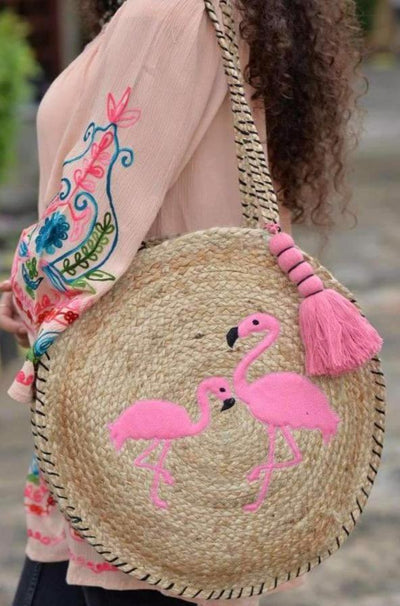 Avani Del Amour ACCESSORIES OS / FLAMINGO Let's Flamingle Jute Bag
