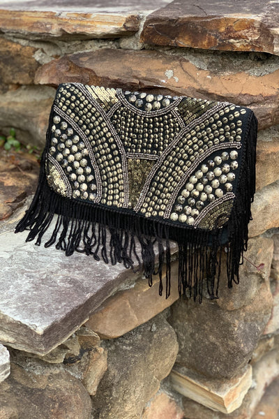 Avani Del Amour BAG OS / BLACK/SILVER ARMOURED IN STYLE FRINGED CLUTCH