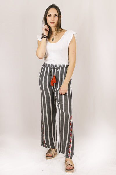Avani Del Amour BOTTOMS Cat Walk Embroidered Split Side Seam Pants