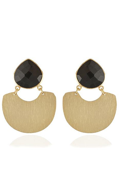 Avani Del Amour JEWELRY OS / GOLD/BLACK ONYX BLACK ONYX CRESCENT DANGLE EARRING