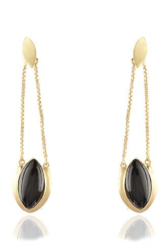 Avani Del Amour JEWELRY OS / GOLD/BLACK ONYX GOLD AND BLACK ONYX DELICATE DROPPED EARRING