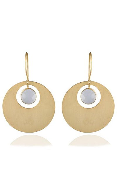 Avani Del Amour JEWELRY OS / GOLD/BLUE CHALCEDONY BLUE CHALCEDONY AND GOLD DISK HOOK EARRING