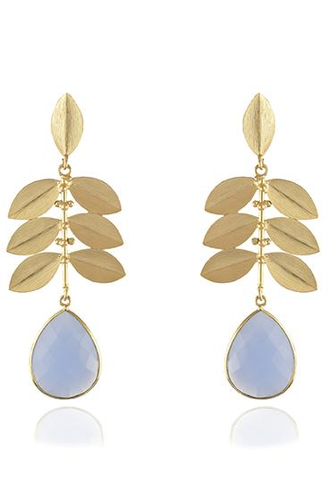Avani Del Amour JEWELRY OS / GOLD/BLUE CHALCEDONY BLUE CHALCEDONY DROPPED LEAF EARRING