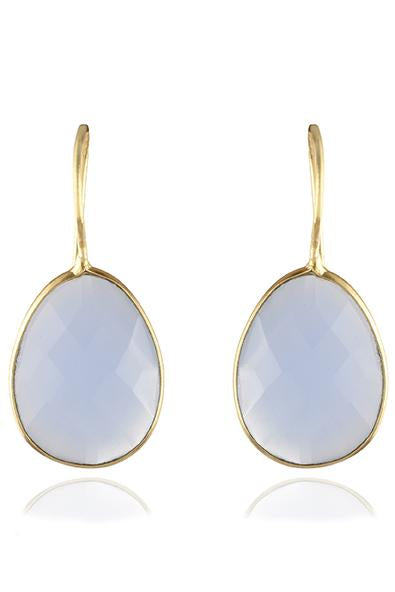 Avani Del Amour JEWELRY OS / GOLD/BLUE CHALCEDONY BLUE CHALCEDONY OVAL DROP HOOK EARRING
