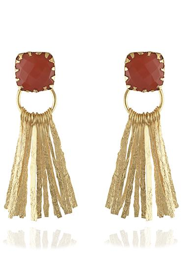 Avani Del Amour JEWELRY OS / GOLD/CORAL CORAL FRINGE DANGLE EARRING