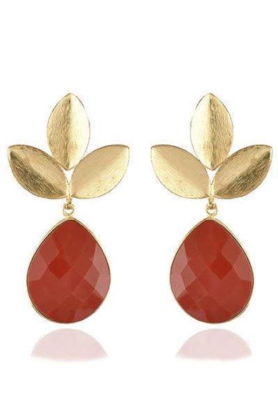 Avani Del Amour JEWELRY OS / GOLD/CORAL CORAL THREE LEAF DANGLE EARRING