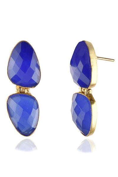 Avani Del Amour JEWELRY OS / GOLD/DARK BLUE CHALCEDONY DARK BLUE CHALCEDONY DANGLE EARRINGS