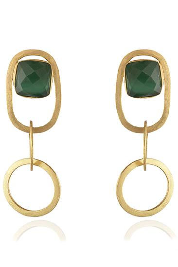 Avani Del Amour JEWELRY OS / GOLD/GREEN ONYX GREEN ONYX INTERLOCKING CIRCLE DANGLE EARRINGS