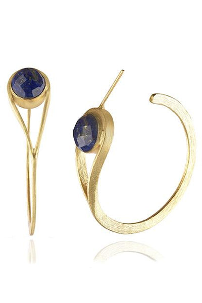 Avani Del Amour JEWELRY OS / GOLD/LAPIZ LAPIZ MODIFIED HOOP EARRING