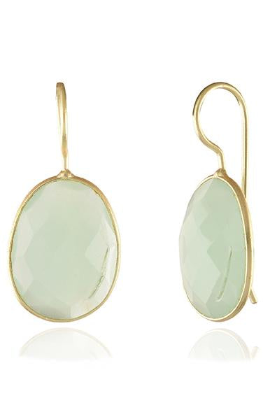 Avani Del Amour JEWELRY OS / GOLD/LIME CHALCEDONY LIME CHALCEDONY OVAL DROP HOOK EARRING