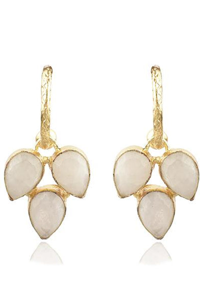 Avani Del Amour JEWELRY OS / GOLD/MOONSTONE MOONSTONE THREE LEAF DANGLE HOOP EARRING