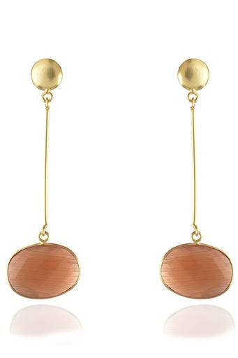 Avani Del Amour JEWELRY OS / GOLD/ORANGE ONYX ORANGE ONYX OVAL DROP EARRING