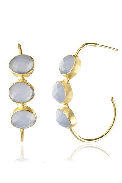 Avani Del Amour JEWELRY OS / GOLD/PERI PERI THREE STONE MODIFIED HOOP EARRING