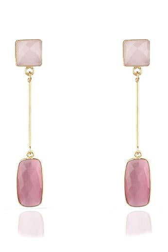 Avani Del Amour JEWELRY OS / GOLD/PINK AGATE PINK AGATE DANGLE EARRING