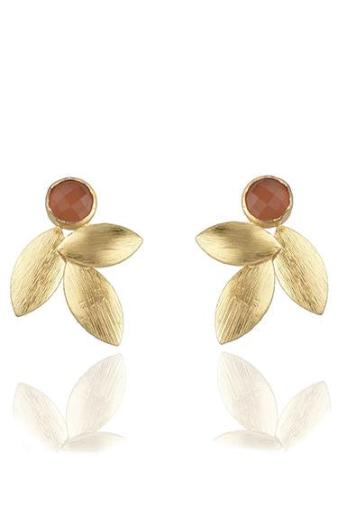 Avani Del Amour JEWELRY OS / GOLD/RED CHALCEDONY RED CHALCEDONY THREE LEAF STUD EARRING