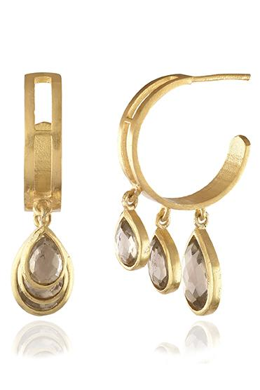 Avani Del Amour JEWELRY OS / GOLD/SMOKE TOPAZ SMOKE TOPAZ DANGLE HOOP EARRING