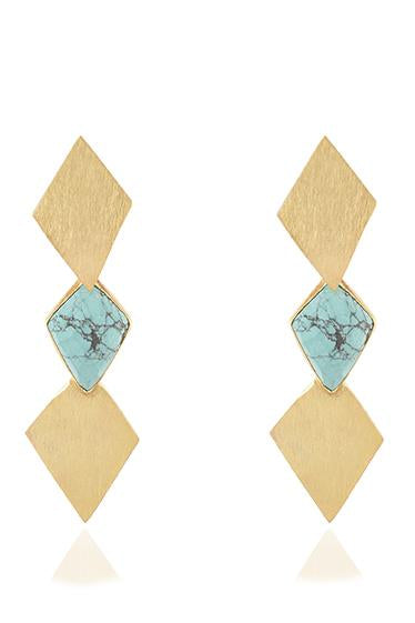 Avani Del Amour JEWELRY OS / GOLD/TURQ TURQUOISE PRISM DANGLE EARRING