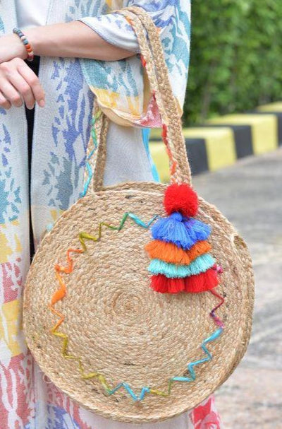 Avani Del Amour OS / MULTI Rainbow Connection Jute Bag