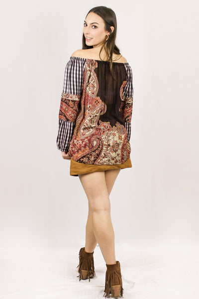 Avani Del Amour TOP Ask For the Check Paisley Combo Tunic