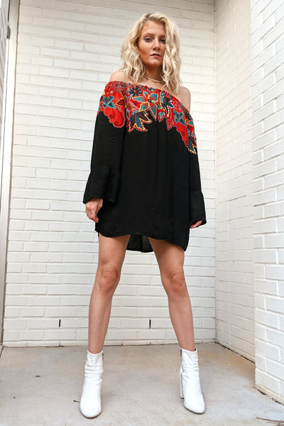 Avani Del Amour TOP Fall Foliage Off the Shoulder Tunic