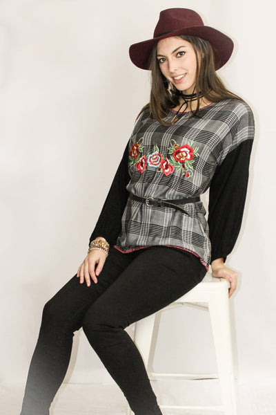 Avani Del Amour TOP Forget the Fall Plaid Combo Embroidered Top