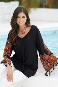 Avani Del Amour TOP Roped In Embroidered Sleeve Tunic
