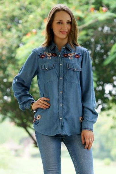 Avani Del Amour TOP Tencel Of The Day Embroidered Shirt