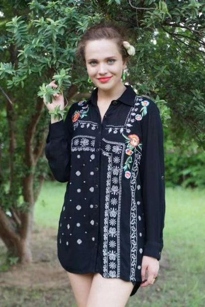 Avani Del Amour TOPS Bandana Block Embroidered Tunic