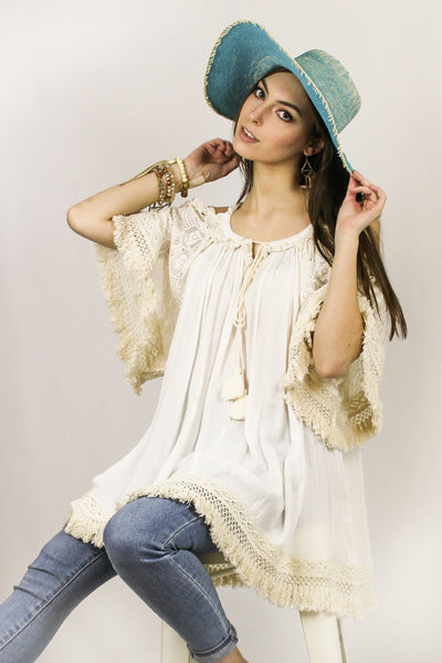 Avani Del Amour TOPS Better Than Boho Lace And Fringe Flowy Tunic