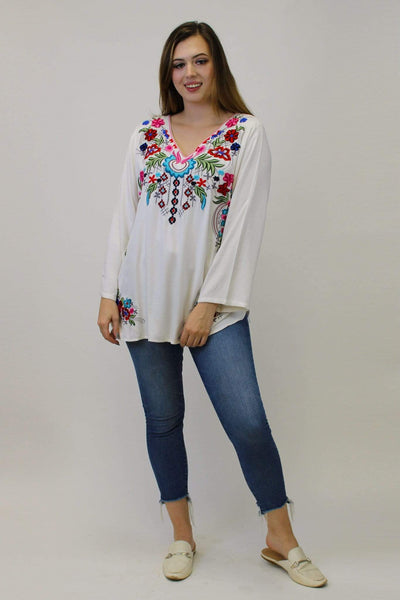 Avani Del Amour TOPS Cross My Heart Embroidered Tunic